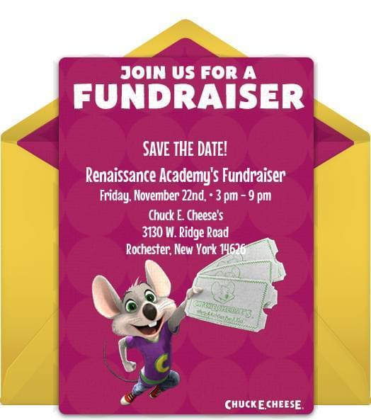 Save The Date Chuck E. Cheese's Fundraiser Event