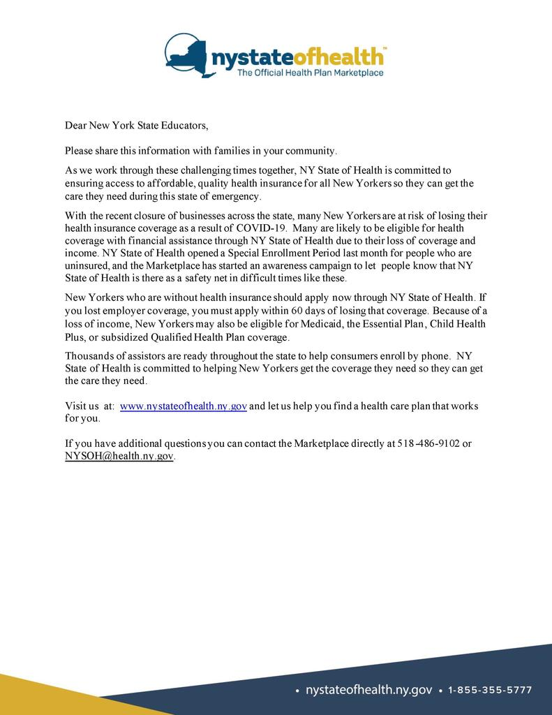 NY State of Health Letter to Families